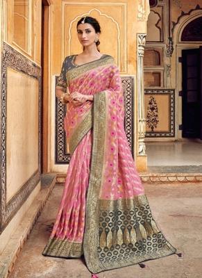 light pink woven silk saree with blouse