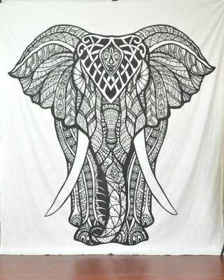 Indan 100% Cotton Queen Size Black and White Boho Elephant Tapestry