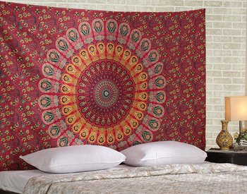 Indan 100% Cotton Queen Size Red Feather Mandala Tapestry