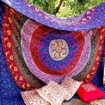 Indan 100% Cotton Queen Size Purple Mandala Tapestry