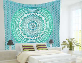 Indan 100% Cotton Queen Size Green Ombre Tapestry