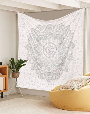 Indan 100% Cotton Queen Size Silver Flower Tapestry