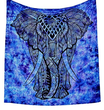 Indan 100% Cotton Queen Size Purple Boho Elephant Tapestry