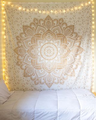 Indan 100% Cotton Queen Size Golden Flower Tapestry
