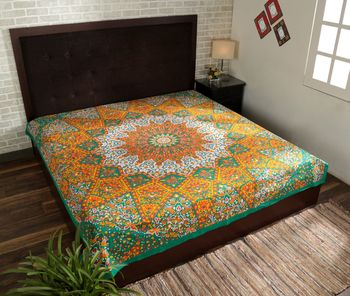 Indan 100% Cotton Queen Size Orange and Green Star Mandala Tapestry