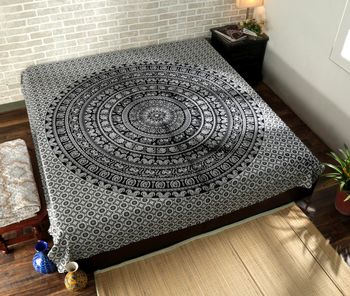Indan 100% Cotton Queen Size Black and White Elephant Mandala Tapestry