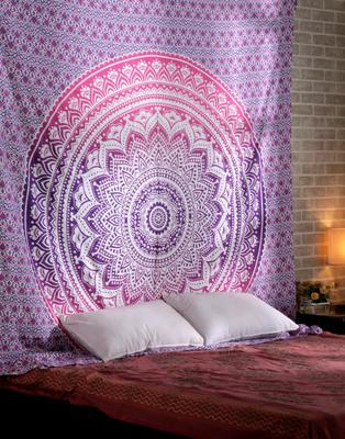 Indan 100% Cotton Queen Size Pink Ombre Tapestry