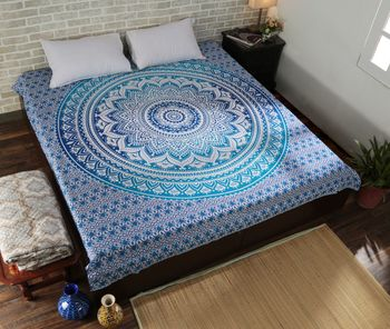Indan 100% Cotton Queen Size Blue Ombre Tapestry