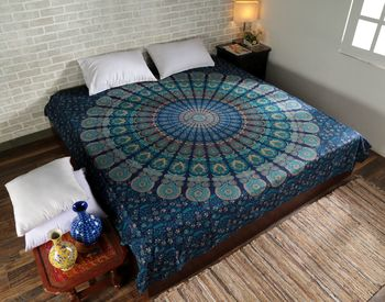 Indan 100% Cotton Queen Size Blue Feather Mandala Tapestry