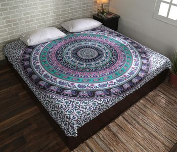 Indan 100% Cotton Queen Size Pink and Green Elephant Mandala Tapestry