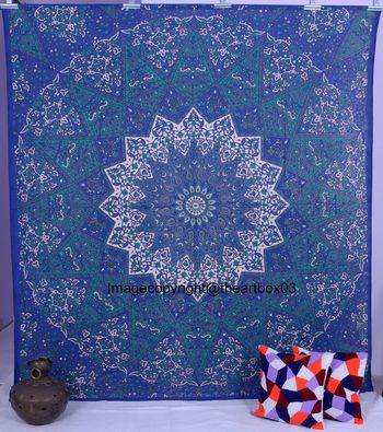 Indan 100% Cotton Queen Size Green and Blue Star Mandala Tapestry