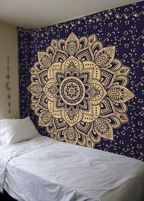 Indan 100% Cotton Queen Size Blue Golden Flower Tapestry