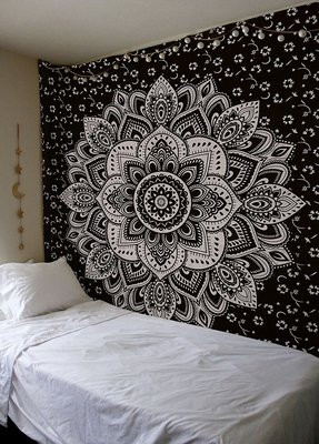 Indan 100% Cotton Queen Size Black Silver Flower Tapestry
