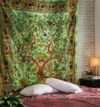 Indan 100% Cotton Queen Size Green Tree of Life Tapestry
