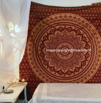 Indan 100% Cotton Queen Size Brown Golden Ombre Tapestry