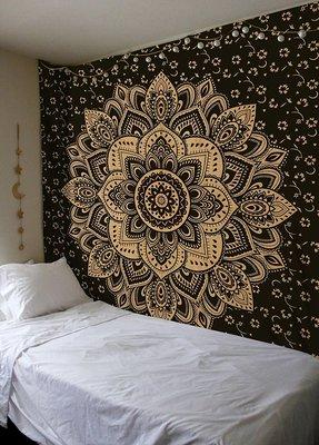 Indan 100% Cotton Queen Size Black Golden Flower Tapestry