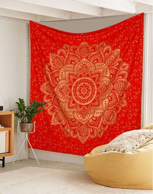 Indan 100% Cotton Queen Size Red Golden Flower Tapestry