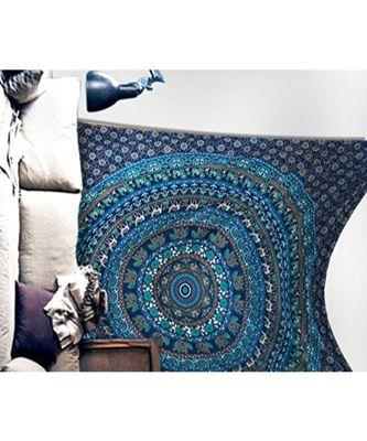 Indan 100% Cotton Queen Size Blue Elephant Mandala Tapestry