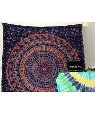 Indan 100% Cotton Queen Size Navy Blue Spoon Mandala Tapestry