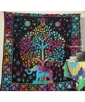 Indan 100% Cotton Queen Size Multi Elephant Tree Tapestry
