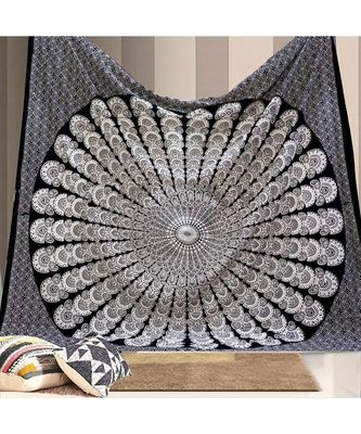 Indan 100% Cotton Queen Size Black and White Peacock Feather Mandala Tapestry