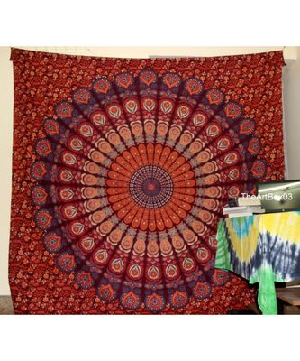 Indan 100% Cotton Queen Size Mehroon Feather Mandala Tapestry