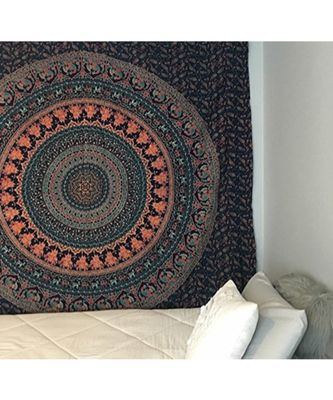 Indan 100% Cotton Queen Size Blue Peacock Mandala Tapestry