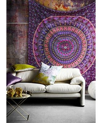 Indan 100% Cotton Queen Size Pink Spoon Mandala Tapestry
