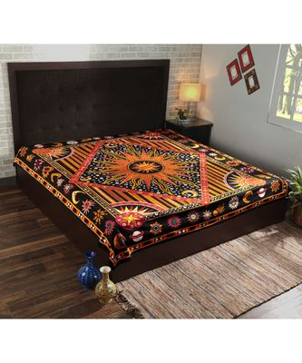 Indan 100% Cotton Queen Size Orange Burning Sun Tapestry