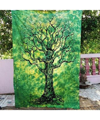 Indan 100% Cotton Queen Size Green Dry Tree Tapestry