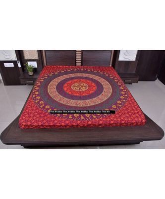 Indan 100% Cotton Queen Size Red Mandala Tapestry