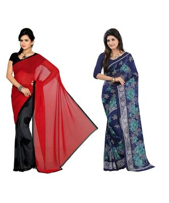 Combo of 2 Multicolor Poly Georgette Printed Women's Saree