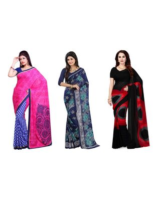 Combo of 3 Multicolor Poly Georgette Printed Women's Saree