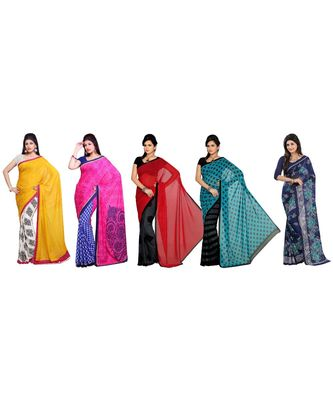 Combo of 5 Multicolor Poly Georgette Printed Women's Saree