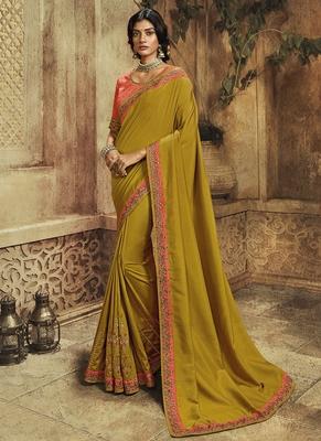 Mustard plain silk saree with blouse