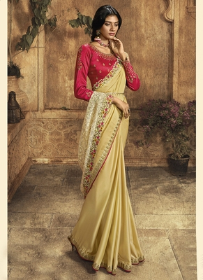 Light yellow plain silk saree with blouse