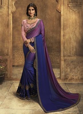 Blue plain silk saree with blouse