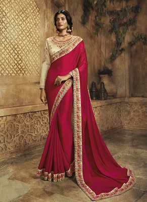 Red plain crepe saree with blouse