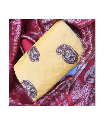 Women's Beige & Wine Cotton Embroidered Dress Material with Dupatta