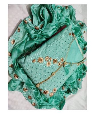 Women's Green Cotton Embroidered Dress Material with Dupatta