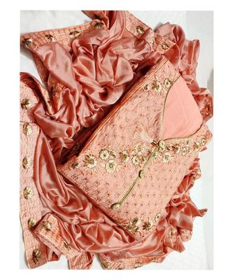 Women's Peach Cotton Embroidered Dress Material with Dupatta