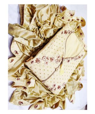Women's Gold Cotton Embroidered Dress Material with Dupatta
