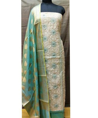 Women's Off White & Sky Blue Cotton Embroidered Dress Material with Dupatta