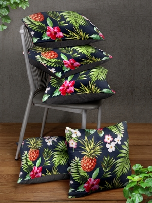 Navy Blue Set of 5 Floral Square Cushion Covers