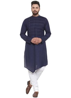 Treemoda Navy Blue Linen Kurta With Churidar  Pajama For Men
