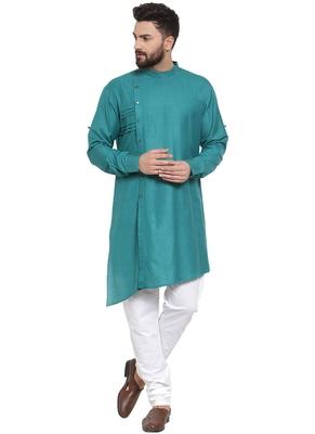 Designer Green Linen Kurta Pajama For Men