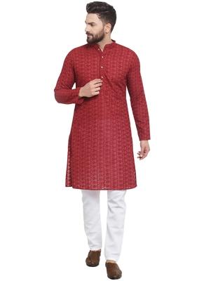 Treemoda Maroon Cotton Kurta With Aligarh Pajama For Men
