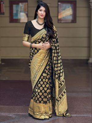 Black woven banarasi silk saree with blouse