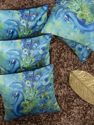 Blue Set of 5 Abstract Square Cushion Covers
