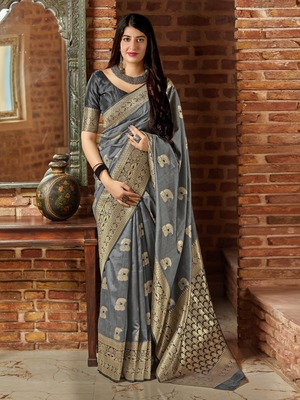 Grey woven banarasi silk saree with blouse